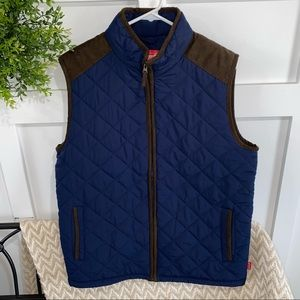 Coleman Quilted Navy Blue Faux Suede Trim Vest